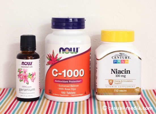 アイハーブ購入品|ナイアシン・ビタミンC1000・ゼラニウムのエッセンシャルオイル