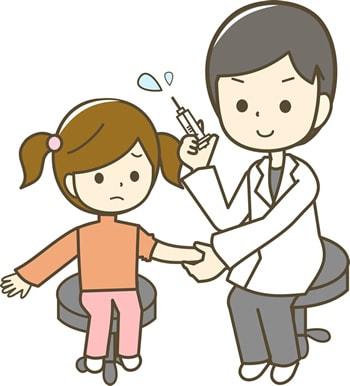 子供が予防接種を受けている様子