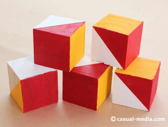 ニキーチンの積み木 模様づくり 絵の具の赤を塗る