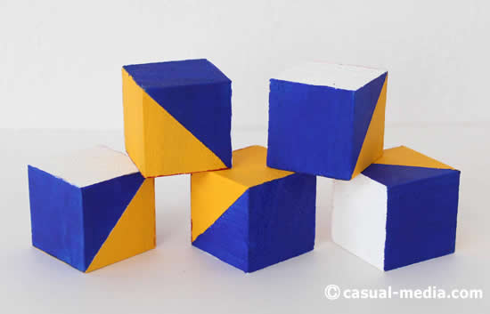 ニキーチンの積み木 模様づくり 絵の具の青を塗る