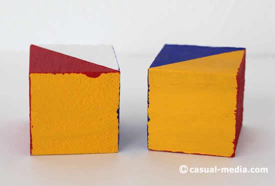 ニキーチンの積み木 模様づくり 絵の具がはみ出した様子