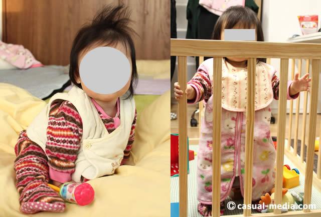 赤ちゃんがかいまきやベストを着て寒さ対策をしている様子