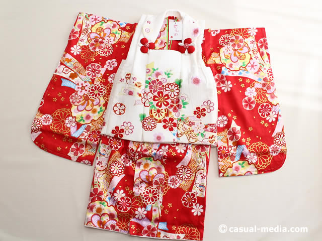 七五三3歳女の子 正絹 着物と被布コート