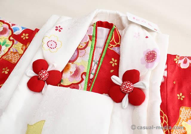七五三3歳女の子 正絹 着物と被布コート 上半身部分