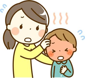 子供が発熱し、心配するお母さん