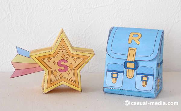 笹徳ペーパークラフト:立体の「流れ星」・「リュックサック」