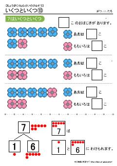 7はいくつといくつ(数の合成分解) 無料配布学習プリント教材