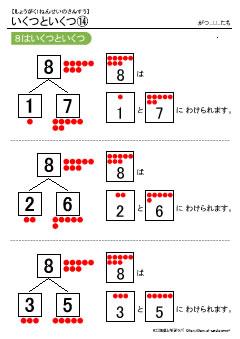 8はいくつといくつ(数の合成分解) 無料配布学習プリント教材